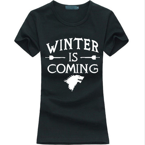 Winter Is Coming letter Print Tops