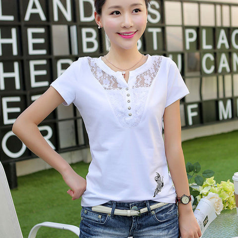 Women t-shirts V-neck Summer Slim Lace