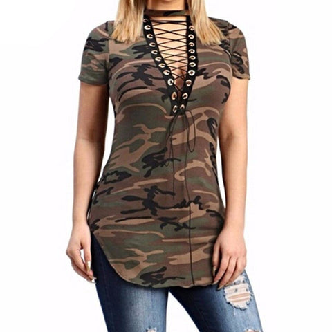 Womens Summer Lace-up V Neck