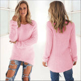 Womens Long Sleeve Fluffy Sweaters