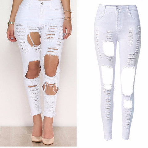 Fashion Hole High Waist White Skinny Jeans