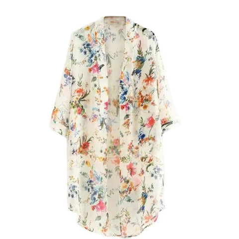 Women Flowers Print Long Vintage