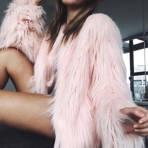 Furry Fur Coat Women Long Sleeve