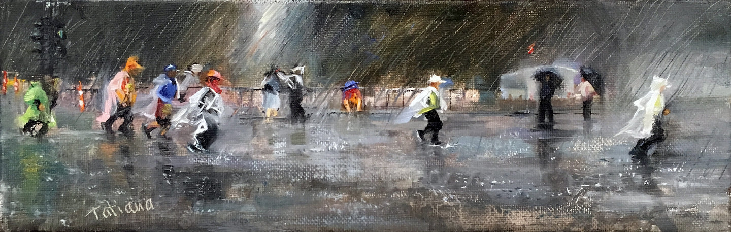 2018 Boston Marathon Run Under Pouring
