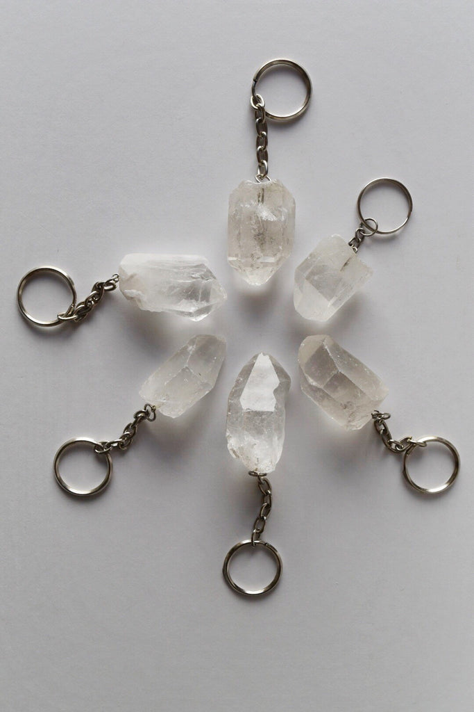 Quartz Crystal Point Keychain