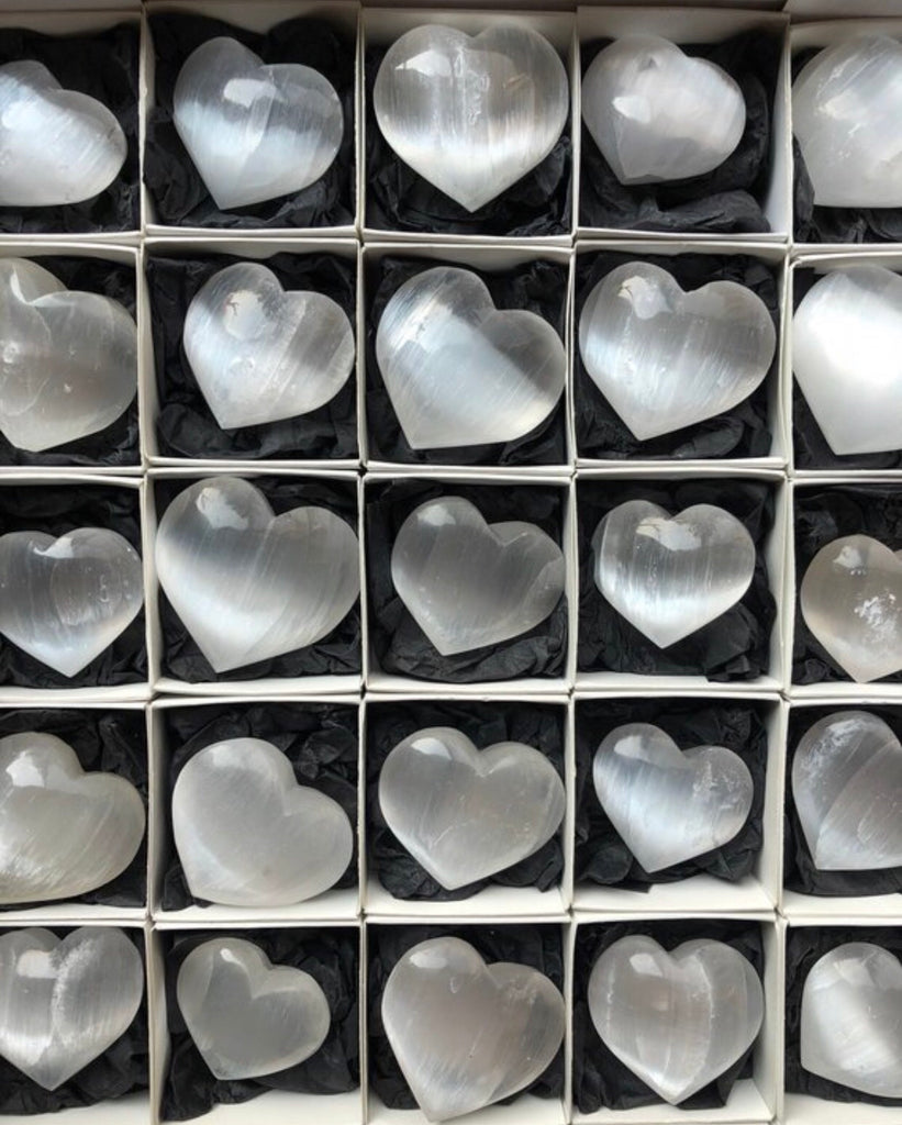 Selenite small heart shaped stone