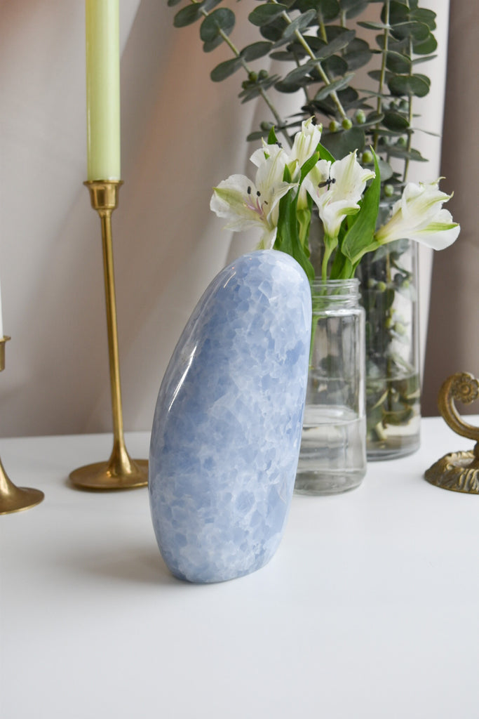 Blue Calcite Polished Standing Free Form No. 37