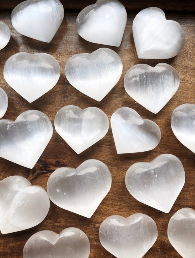Selenite medium polished heart