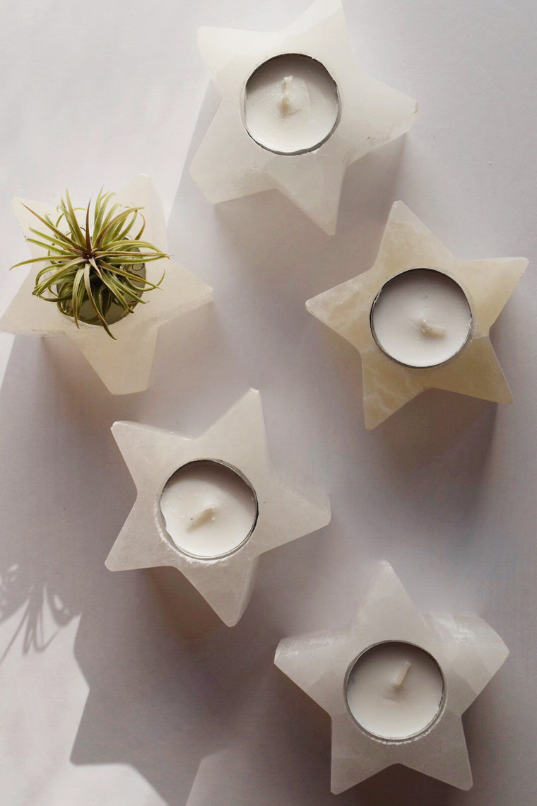 Selenite Polished Star Tea Light Holder