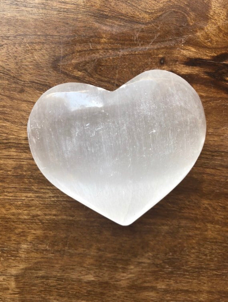 Selenite big polished heart