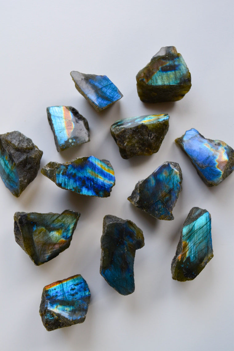 Labradorite Half Polished Raw Chunk