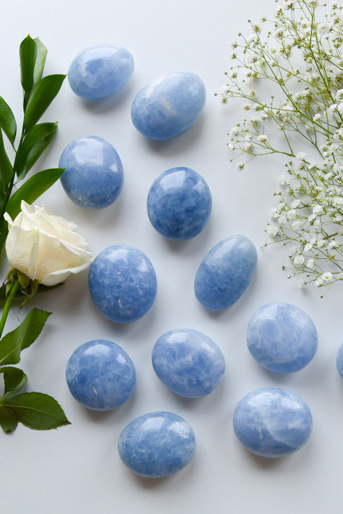 Blue Calcite Palm Stones