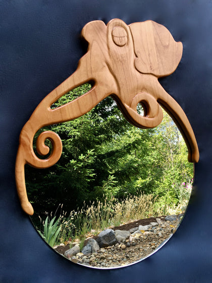 Octopus Wood mirror, woodworker in canada, Soul Sound Woodworks
