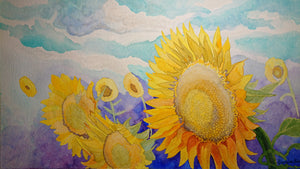Sunflower watercolor painting by artist Georgia Edwards, Canada