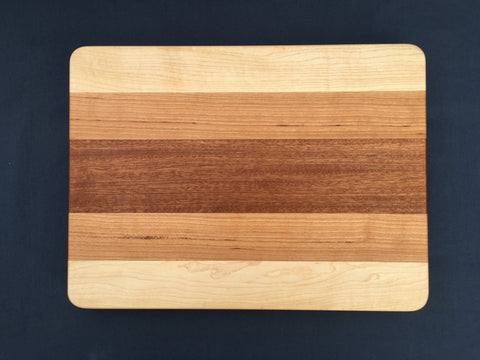 "7/8"" x 10"" x 14"" Maple, Cherry and Sapele Cutting Board - Soul Sound Woodworks"