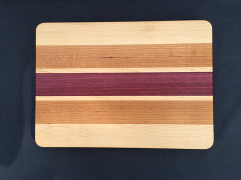"7/8"" x 10"" x 14 "" Maple, Cherry and Purpleheart Cutting Board - Soul Sound Woodworks"