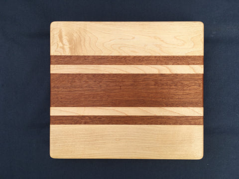 "7/8"" x 8"" x 9"" Maple and Sapele Cutting Board - Soul Sound Woodworks"