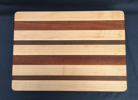 "1 1/2"" x 15"" x 20"" Maple, Walnut and Sapele Cutting Board - Soul Sound Woodworks"