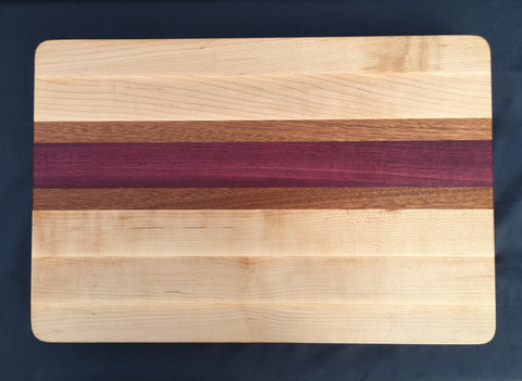 "1 1/2"" x 12"" x 18"" Maple, Purple Heart and Sapele Cutting Board - Soul Sound Woodworks"