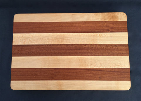 "1 1/2"" x 12"" x 18"" Maple and Sapele Cutting Board - Soul Sound Woodworks"