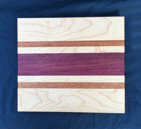 "7/8"" x 8"" x 9 "" Maple, Purpleheart and Sapele Cutting Board - Soul Sound Woodworks"