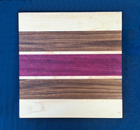 "7/8"" x 9"" x 9"" Maple, Walnut and Sapele Cutting Board - Soul Sound Woodworks"