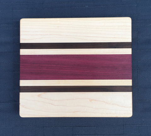 "7/8"" x 8"" x 9 "" Maple, Purpleheart and Walnut Cutting Board - Soul Sound Woodworks"