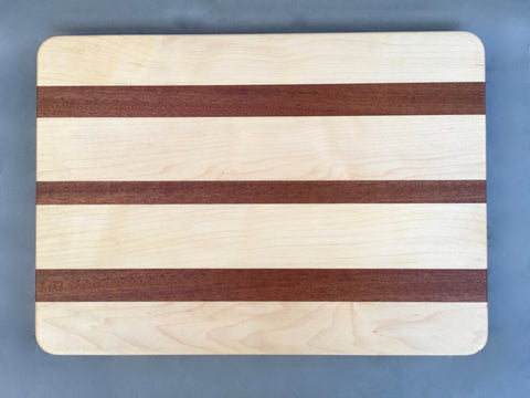 "7/8"" x 10"" x 14"" Maple and Sapele Cutting Board - Soul Sound Woodworks"