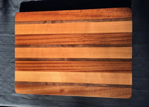 "1 1/2"" x 14 1/2"" x 20"" Sapele, Cherry and Walnut Cutting Board - Soul Sound Woodworks"