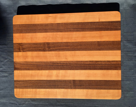 "1 1/2"" x 16"" x 20"" Cherry and Walnut Cutting Board - Soul Sound Woodworks"