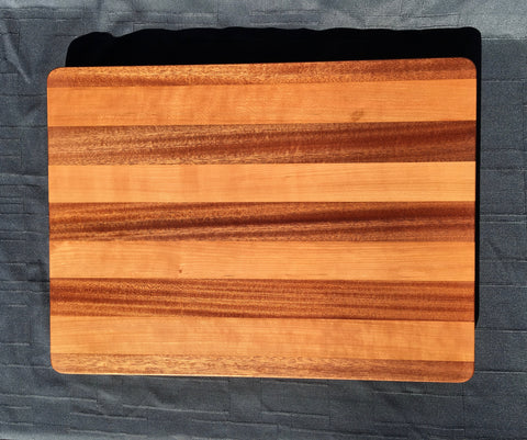 "1 1/2"" x 14 3/4"" x 20"" Cherry and Sapele Cutting Board - Soul Sound Woodworks"