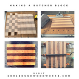 "1 1/2"" x 12 1/4"" x 16 1/2"" Walnut and Cherry End Grain Butcher Block - Soul Sound Woodworks"