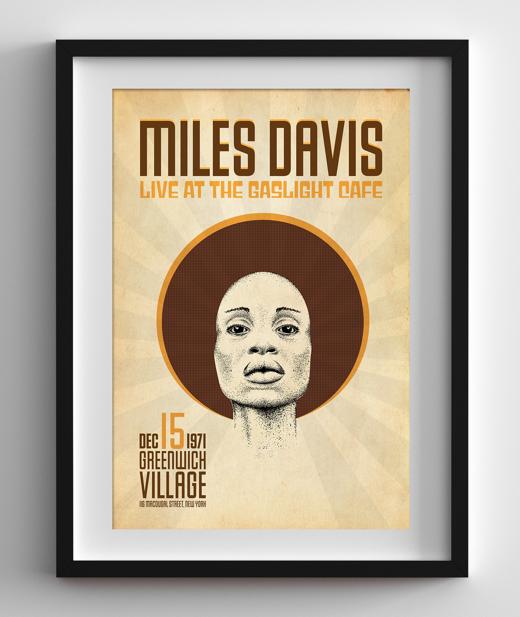 Miles Davis Live at the Gaslight Cafe in New York, 1971 Concert Print