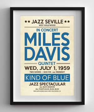 Miles Davis, Kind of Blue in Hollywood, 1959 Concert Print