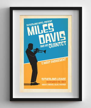 Miles Davis Live at the Sutherland Lounge in Chicago, 1957 Concert Print
