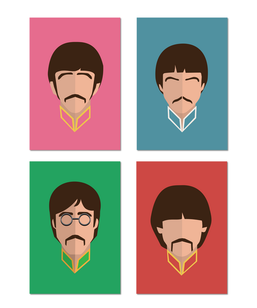 Beatles Original Icon Print 4 Print Set (Icon Series)
