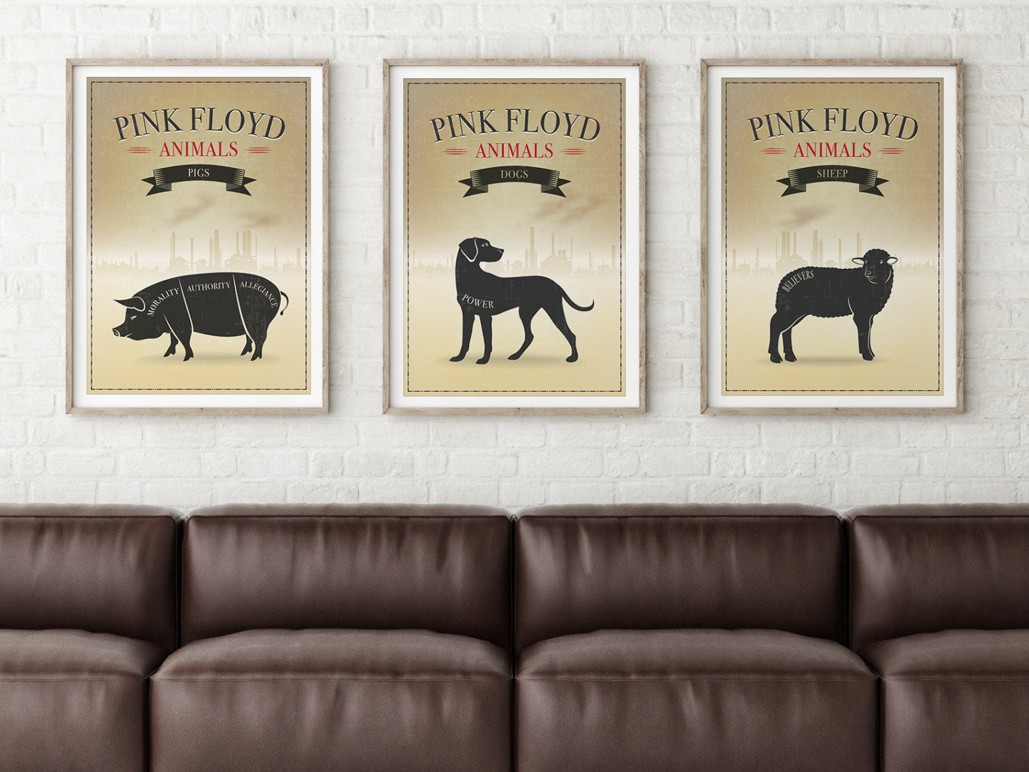 "Pink Floyd Three (3) Poster Print Set Inspired by the album, ""Animals:"