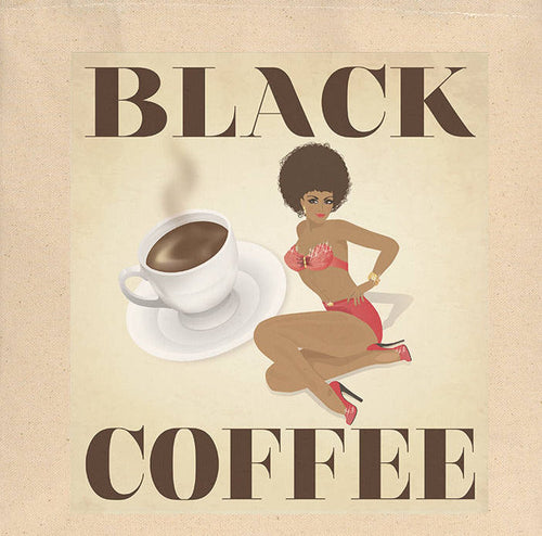 Black Coffee Pin-Up Girl Canvas Tote