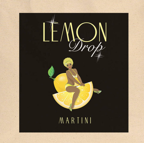 Lemon Drop Pin-Up Girl Canvas Tote