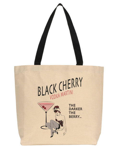 Black Cherry Pin-Up Girl Canvas Tote