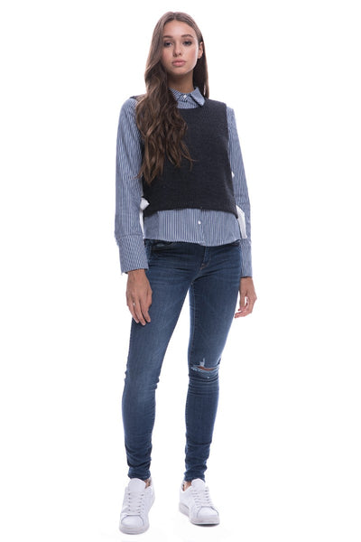 Manhattan Blouse with Knit Vest
