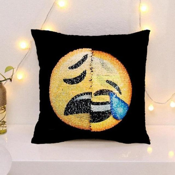Changing Face Emoji Sequin Pillow