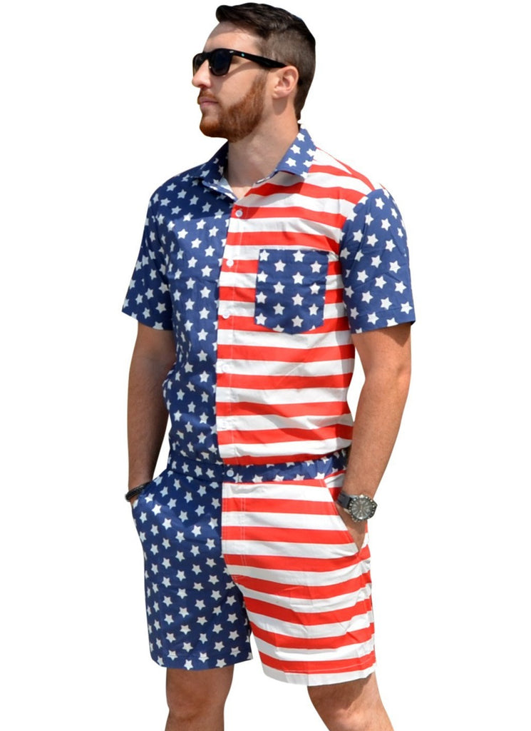 American Flag Male Romper Romphim Romper for Men