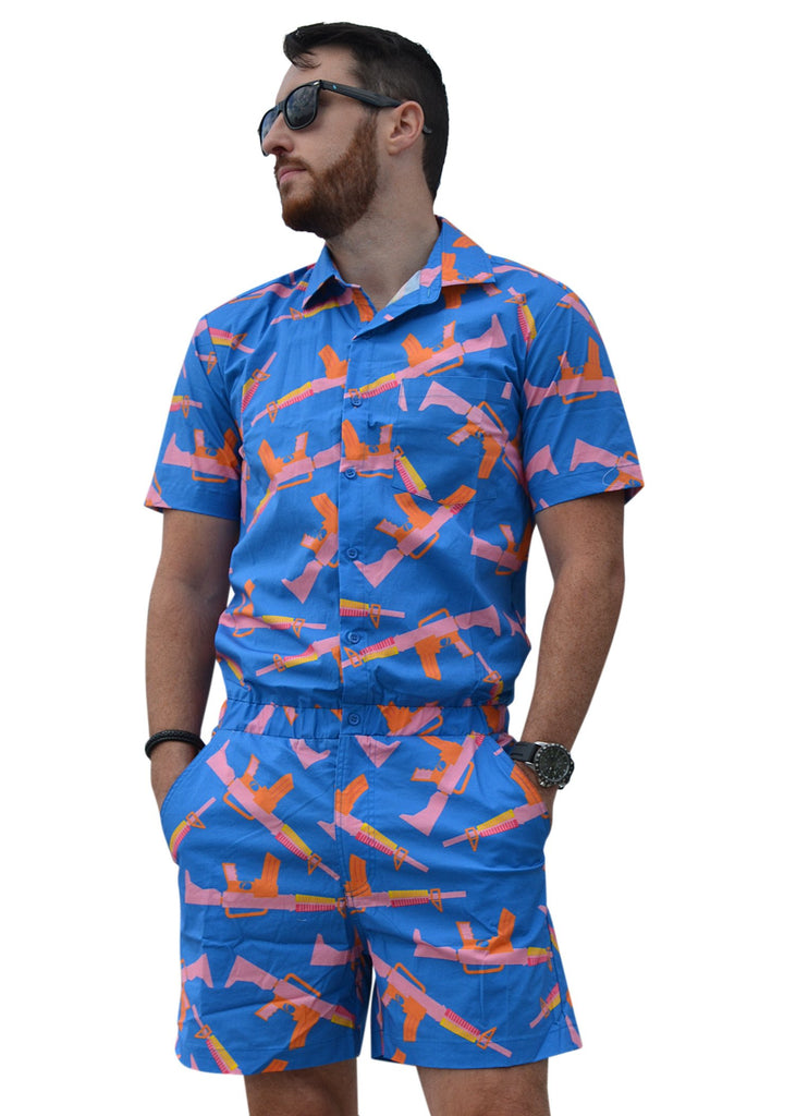 Male Romper - Guns Blazin'