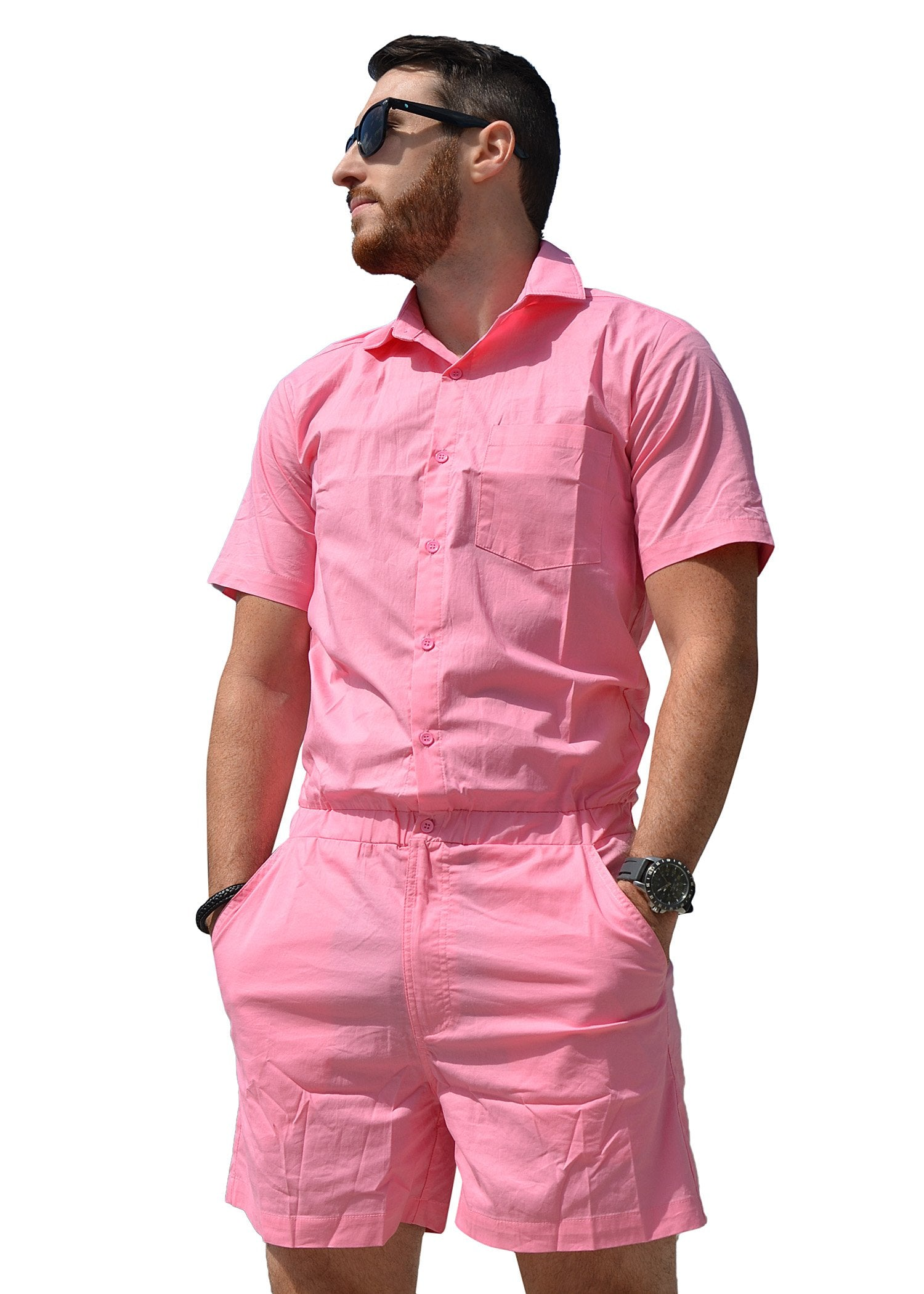 Male Romper - Coral Chambray
