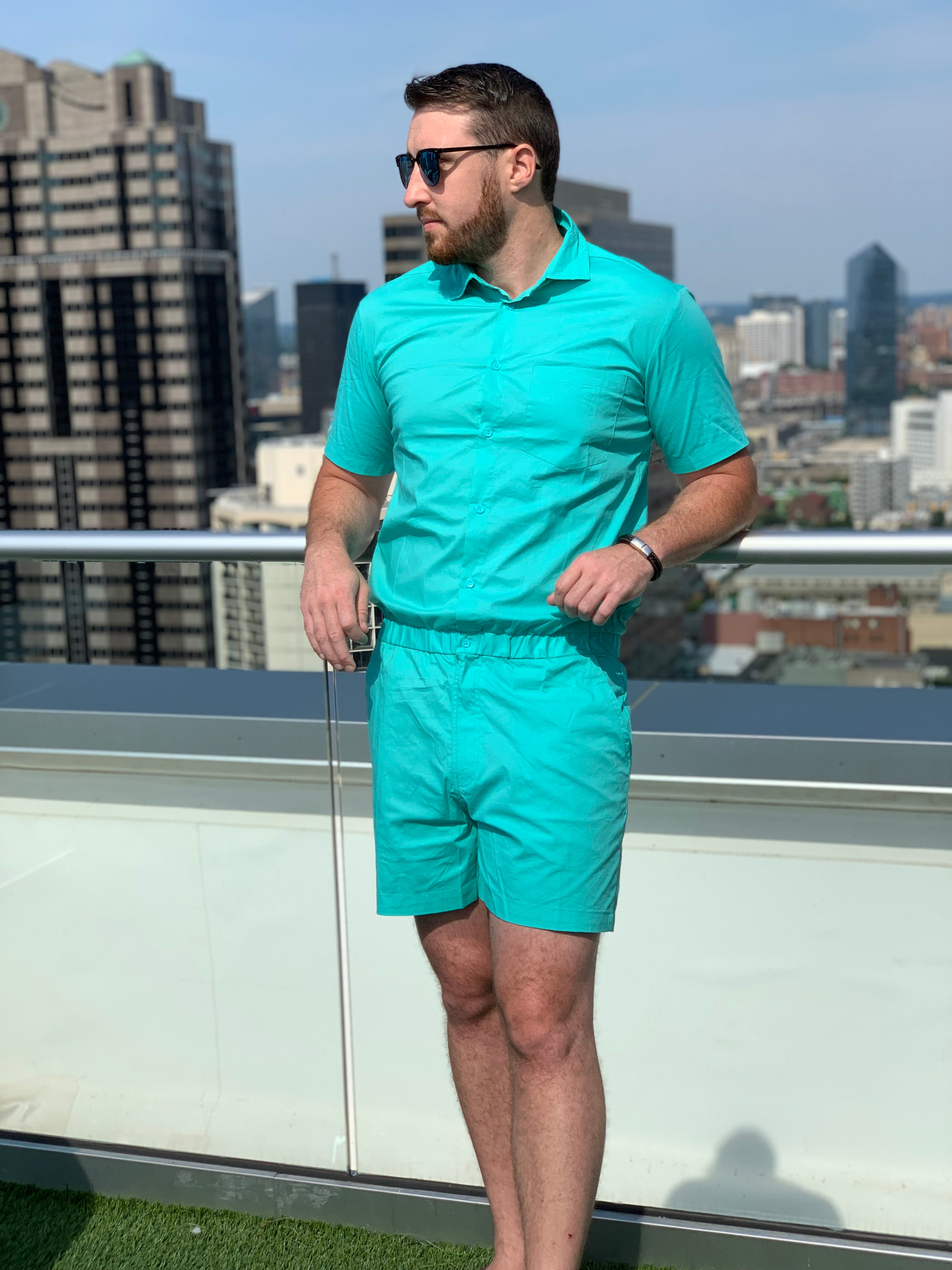 Male Romper - Turquoise