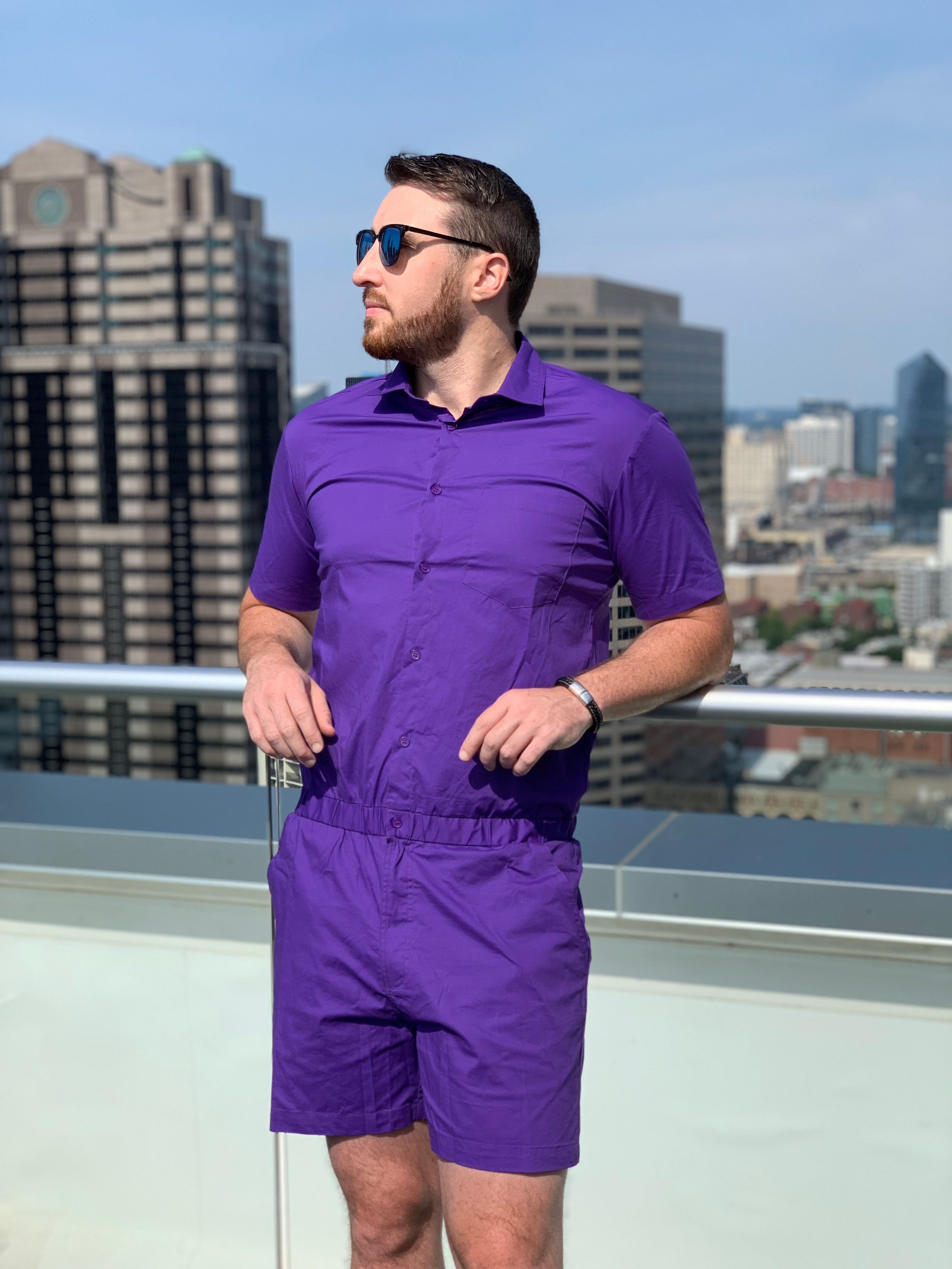 male romper purple