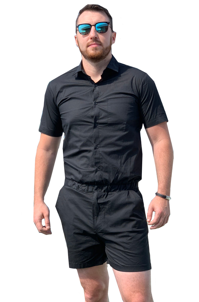 Male Romper - Black