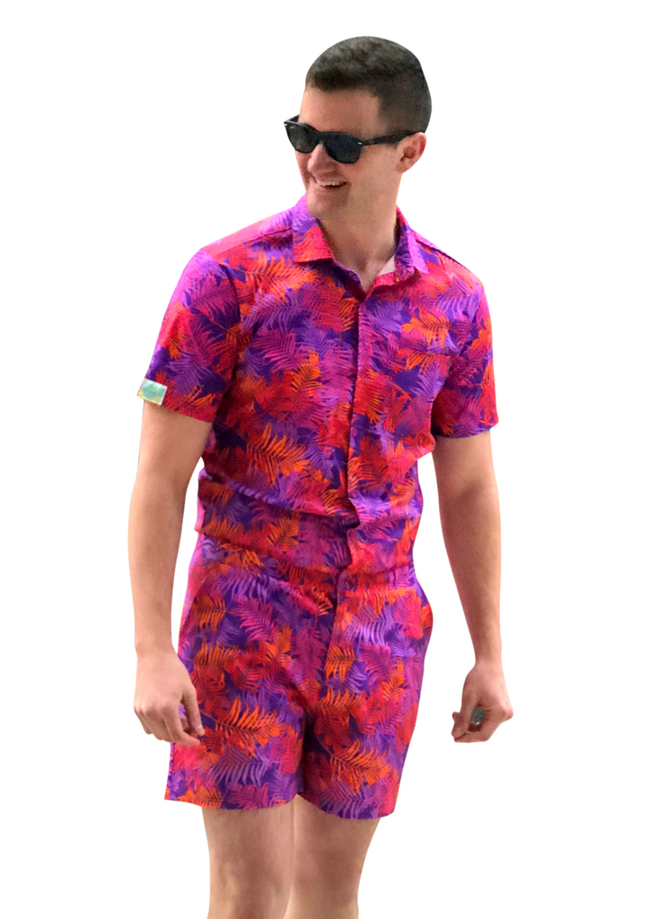 Male Romper - Autumn Tropics