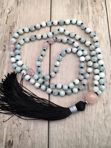 Faceted Aquamarine and Rose Quartz Mala Necklace